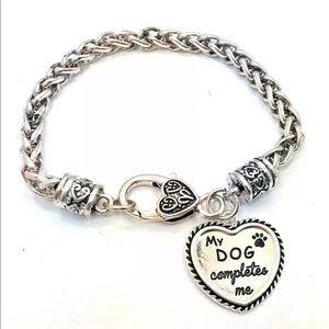 """""""My dog completes me"""" sterling silver pl Bracelet"""